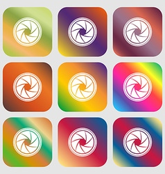 Diaphragm icon aperture sign nine buttons with vector