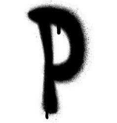 Sprayed p font graffiti with leak in black vector