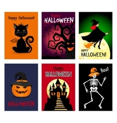 Retro autumn halloween posters vector