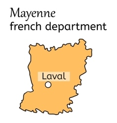 Mayenne french department map vector