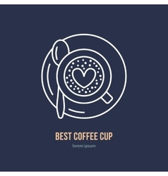 Line icon of coffee cup coffee shop linear vector