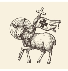 Lamb or sheep holding cross religious symbol vector