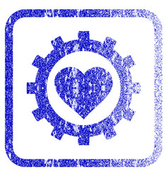 love heart options gear framed textured icon vector image