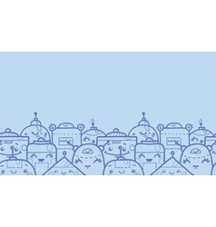 Cute doodle robots horizontal seamless pattern vector