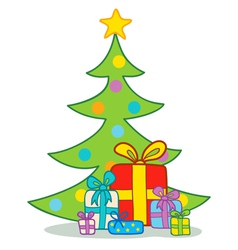 Gifts under christmas tree vector