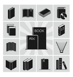 Black books silhouettes icons collection vector