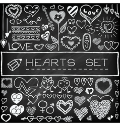Doodle set of hearts and arrows vector