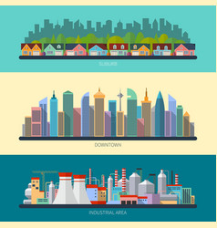Set of flat design urban landscape vector