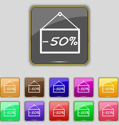 50 discount icon sign Set with eleven colored vector image