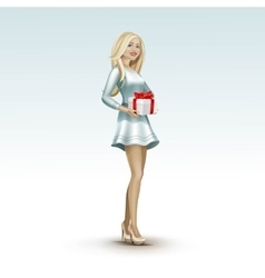 Blonde woman girl in dress with gift vector
