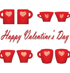 Valentine day couple of cups white background vector