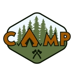 Camping badge emblem vector