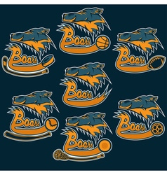 Set of boars sports vintage labels vector