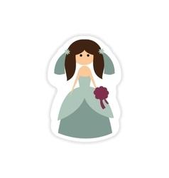 Paper sticker on white background beautiful bride vector