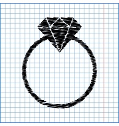 Diamond icon with pen effect on paper vector