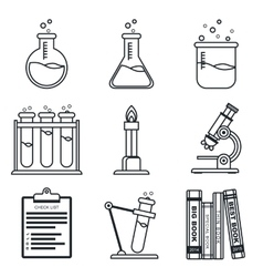 Black lineart icon set chemistry science vector