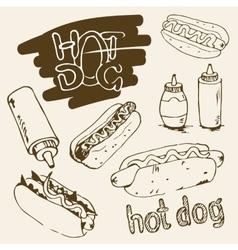 Hot dog hand drawn vector