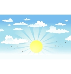 Sun in the cloudy sky vector