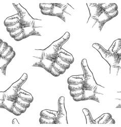 Seamless Pattern hand showing symbol Like Making vector image