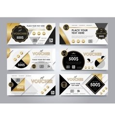 Gold gift voucher template layout vector