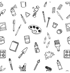 Artist tools sketch set seamless pattern vector