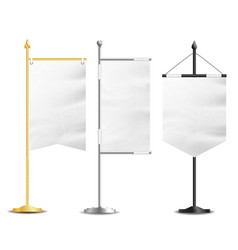 Blank white flags pocket table realistic vector