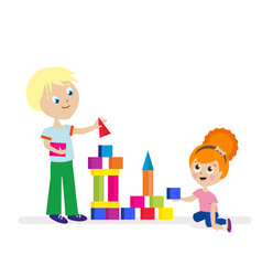 Boy and girl build a high tower of colorful cubes vector