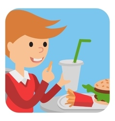 Boy eating fast food of a vector image vector image