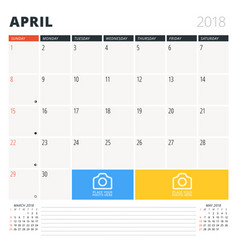 calendar planner for april 2018 design template vector image
