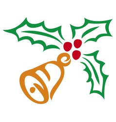 christmas holly berry and bell symbol vector image