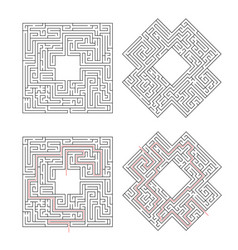 complicated labyrinths with red path of solution vector image vector image