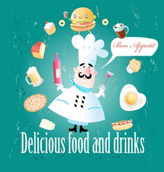 cook different meals and drinks vector image