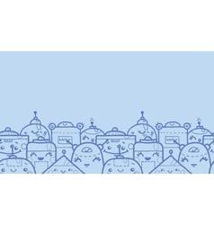 Cute doodle robots horizontal seamless pattern vector
