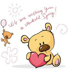 Cute teddy bear design card - isolated on w vector