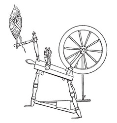 Diagram of a spinning-wheel vintage engraving vector