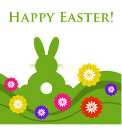 Easter colored greeting card - rabbit with flowers vector
