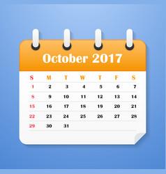 european calendar for october 2017 vector image