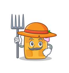 Farmer waffle character cartoon design vector