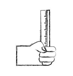 Figure hand with ruler school utensil design vector