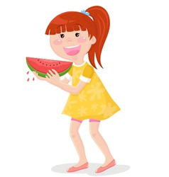 Girl eating watermelon vector