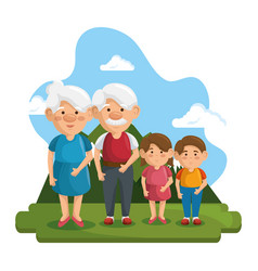 Grandparents and grandchildren icon vector