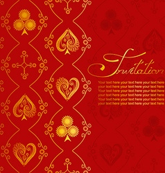 Invitation with pattern of suits of playing card vector