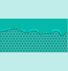 Liquid flowing seamless mint honeycomb vector