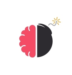 logo design combination of a brain and bomb vector image
