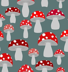 Mushroom seamless pattern background of fly agaric vector image