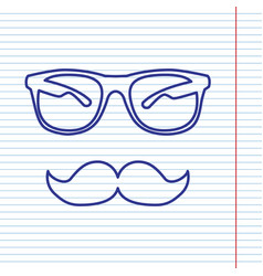 Mustache and glasses sign navy line icon vector