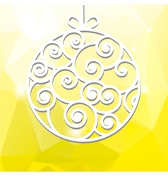 New years toy made of paper on a yellow background vector