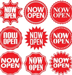 Now open red label now open red sign now open red vector