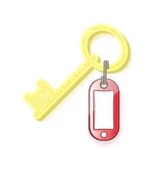 Red tag and yellow key on a white background vector
