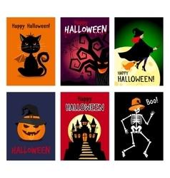 Retro autumn halloween posters vector